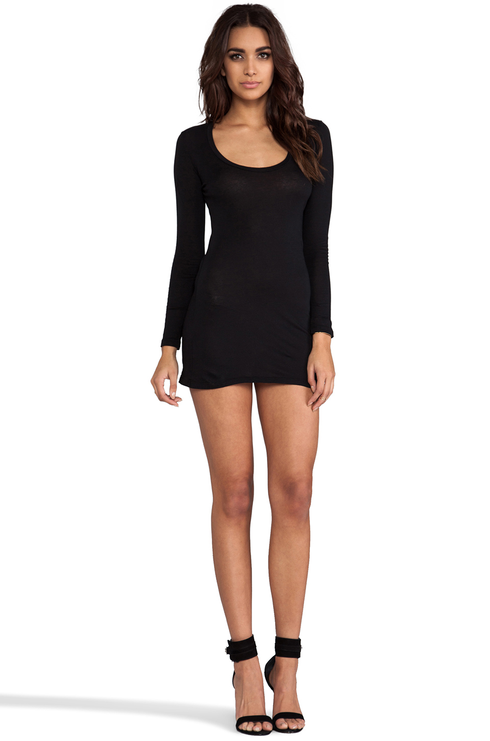 Bobi Light Weight Jersey Long Sleeve Dress in Black
