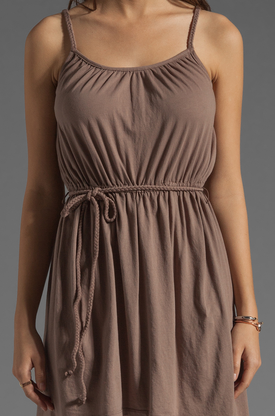 Bobi Supreme Jersey Tie Waist Asymmetric Dress in Java
