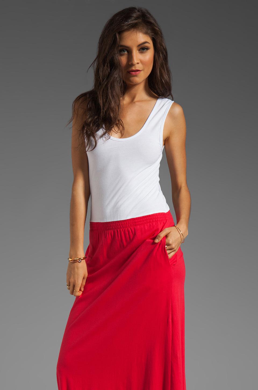 Bobi Colorblock Supreme Jersey Maxi Dress in White/Bali