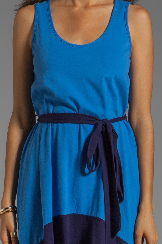 Bobi Colorblock Supreme Jersey Asymmetric Dress in Tropez/Yacht