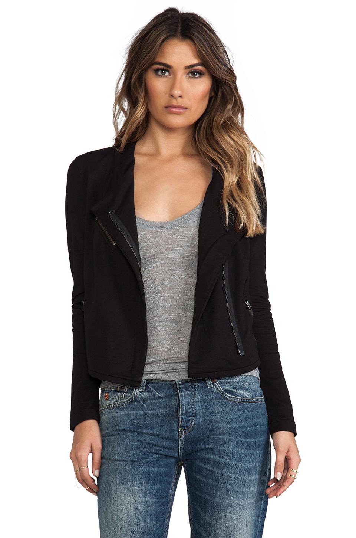 Bobi Cashmere Terry Moto Jacket in Black