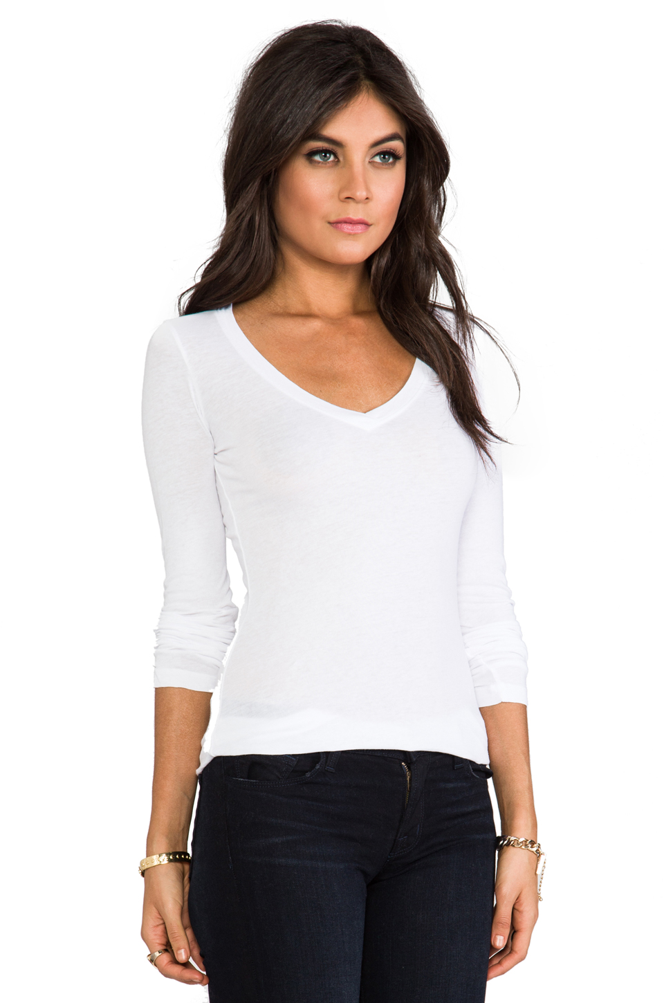 Bobi Light Weight Jersey V Neck Long Sleeve in White