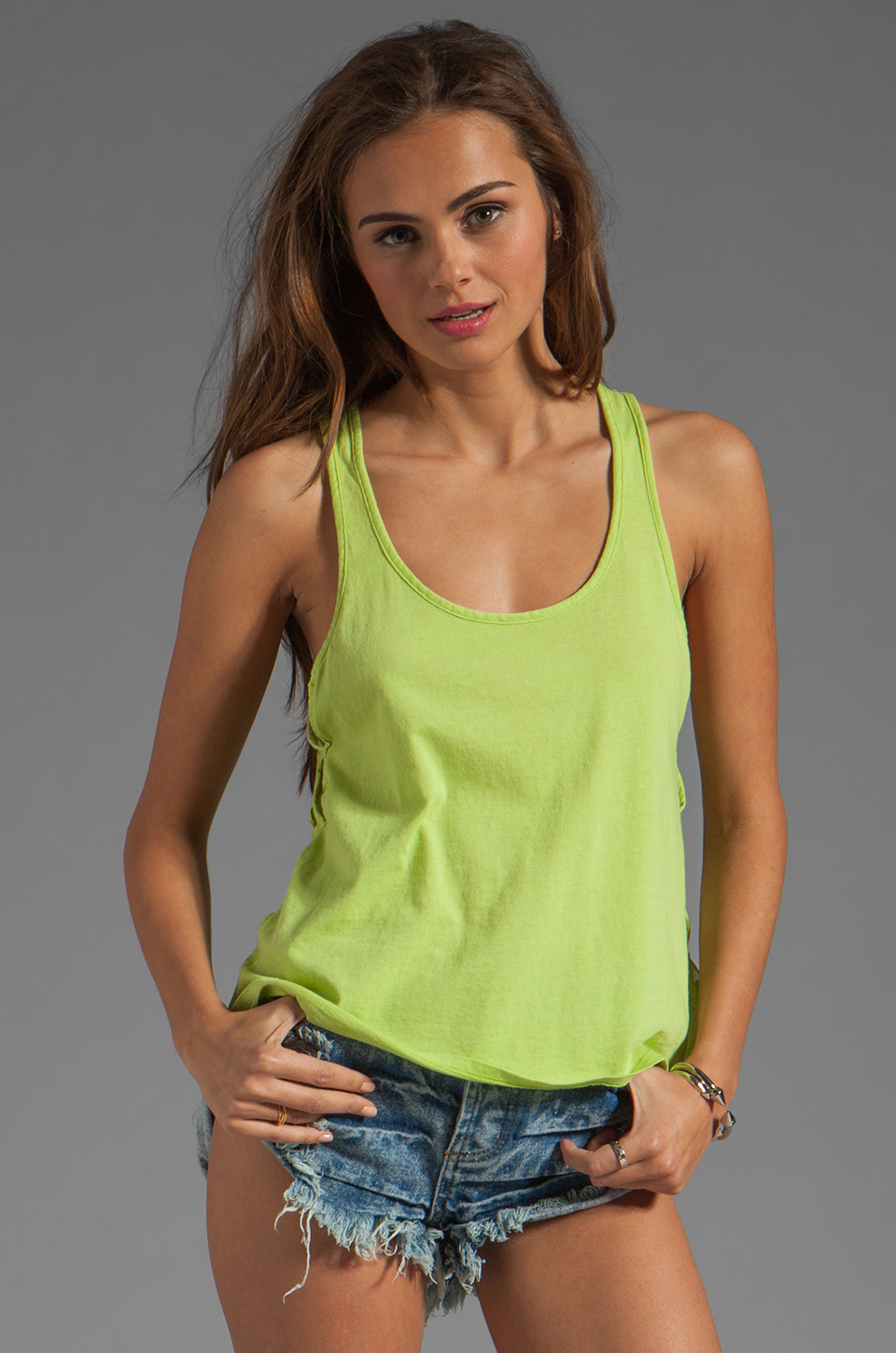 Bobi Lightweight Jersey Criss Cross Side Tank in Margarita