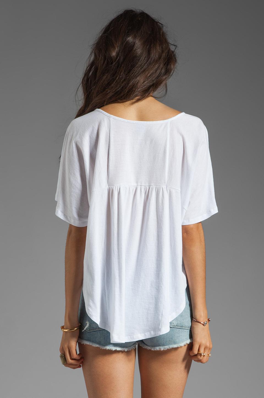 Bobi Lightweight Jersey Flutter Sleeve Top in White