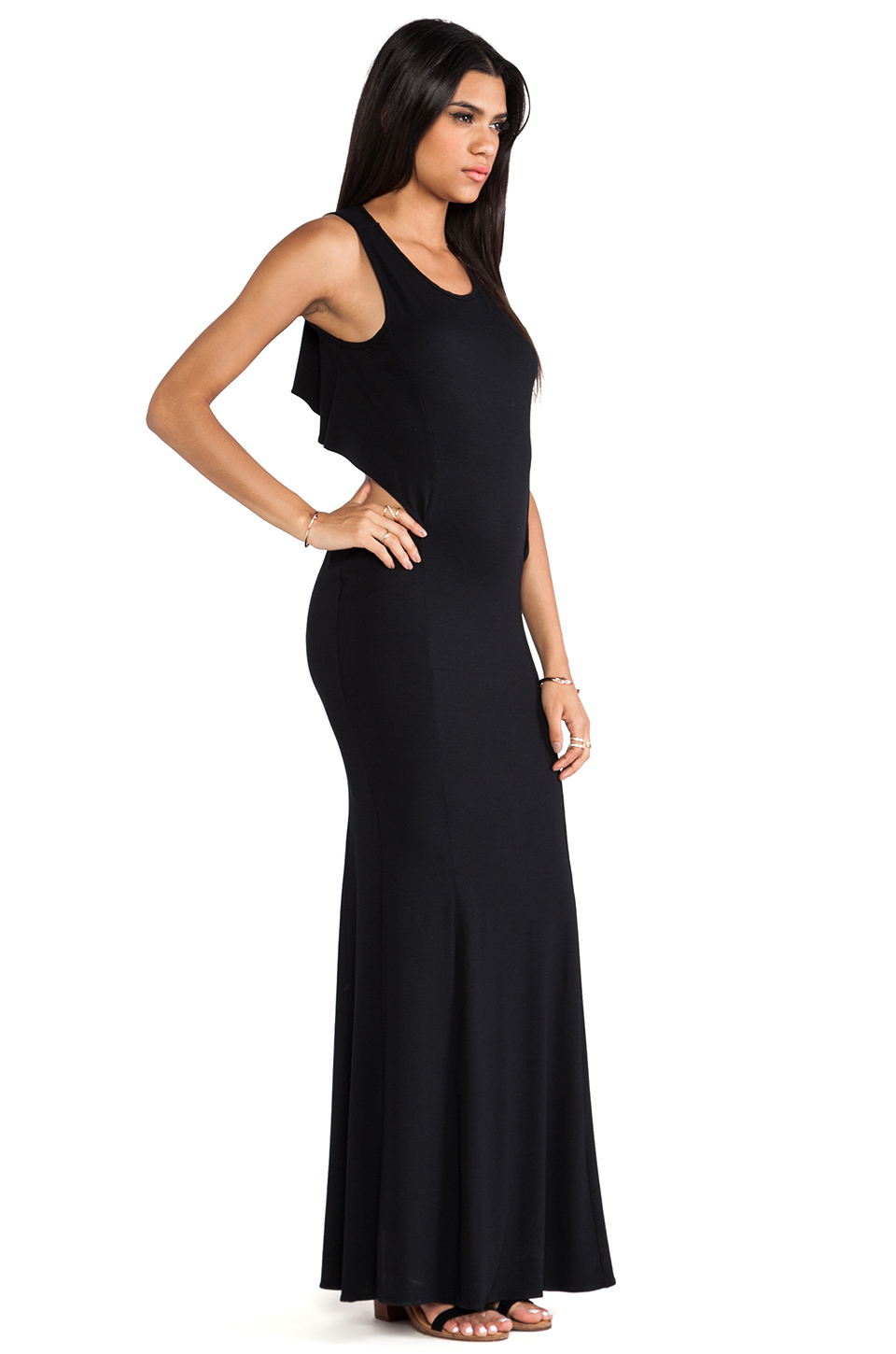Boulee Cruz Open Back Maxi Dress in Black
