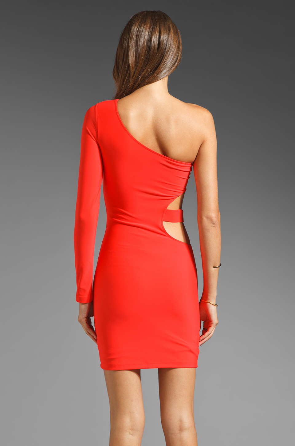 Boulee Allie One Shoulder Cut Out Dress in Hot Coral