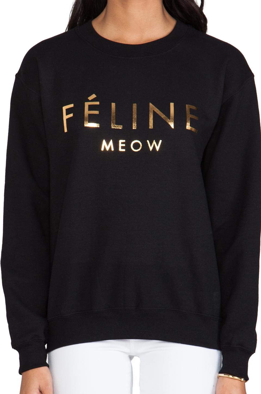 Brian Lichtenberg Feline Sweatshirt in Black/Gold