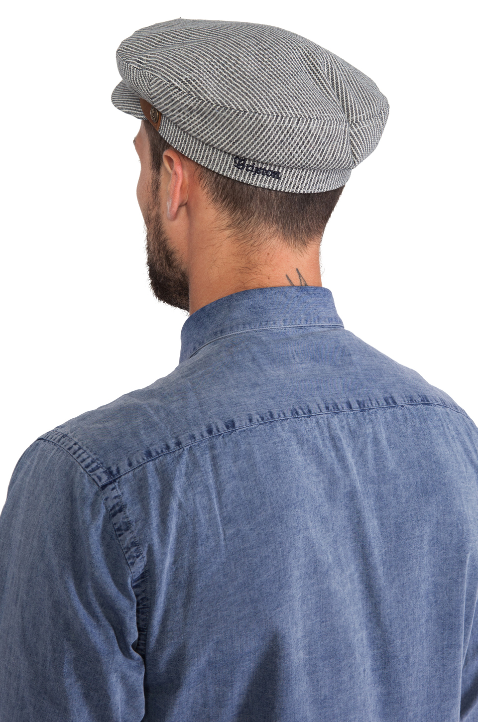Brixton Fiddler Cap in Navy & White