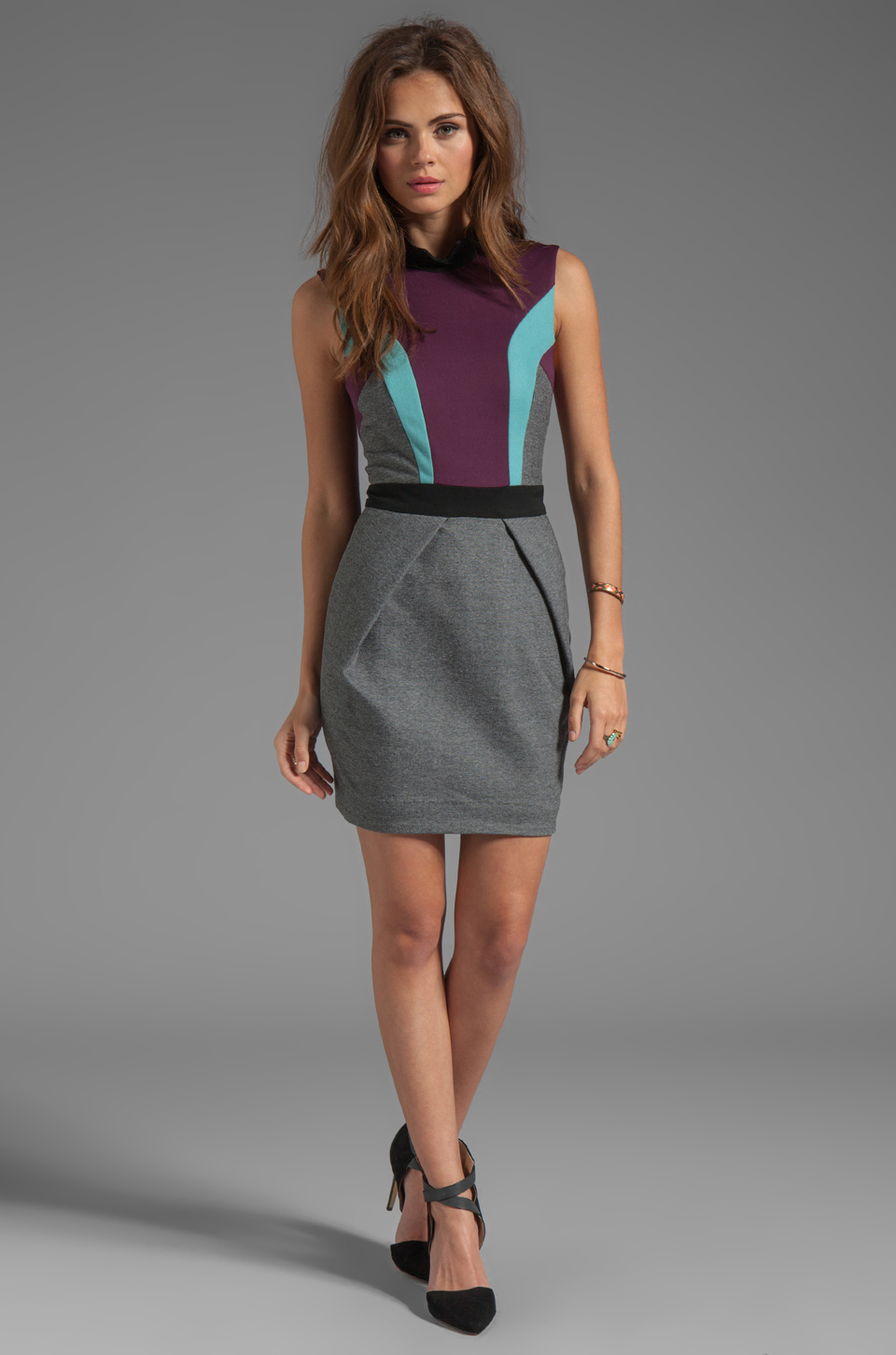 camilla and marc Statesroom Dress in Grey Marle/Maroon/Duck Egg