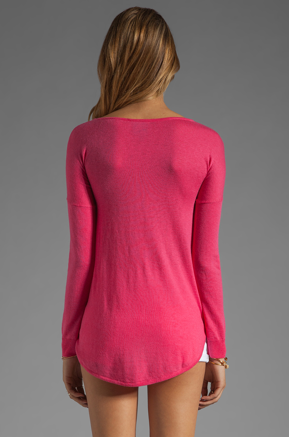 C&C California Long Sleeve Dolman Shirt Tail Sweater in Fuchsia