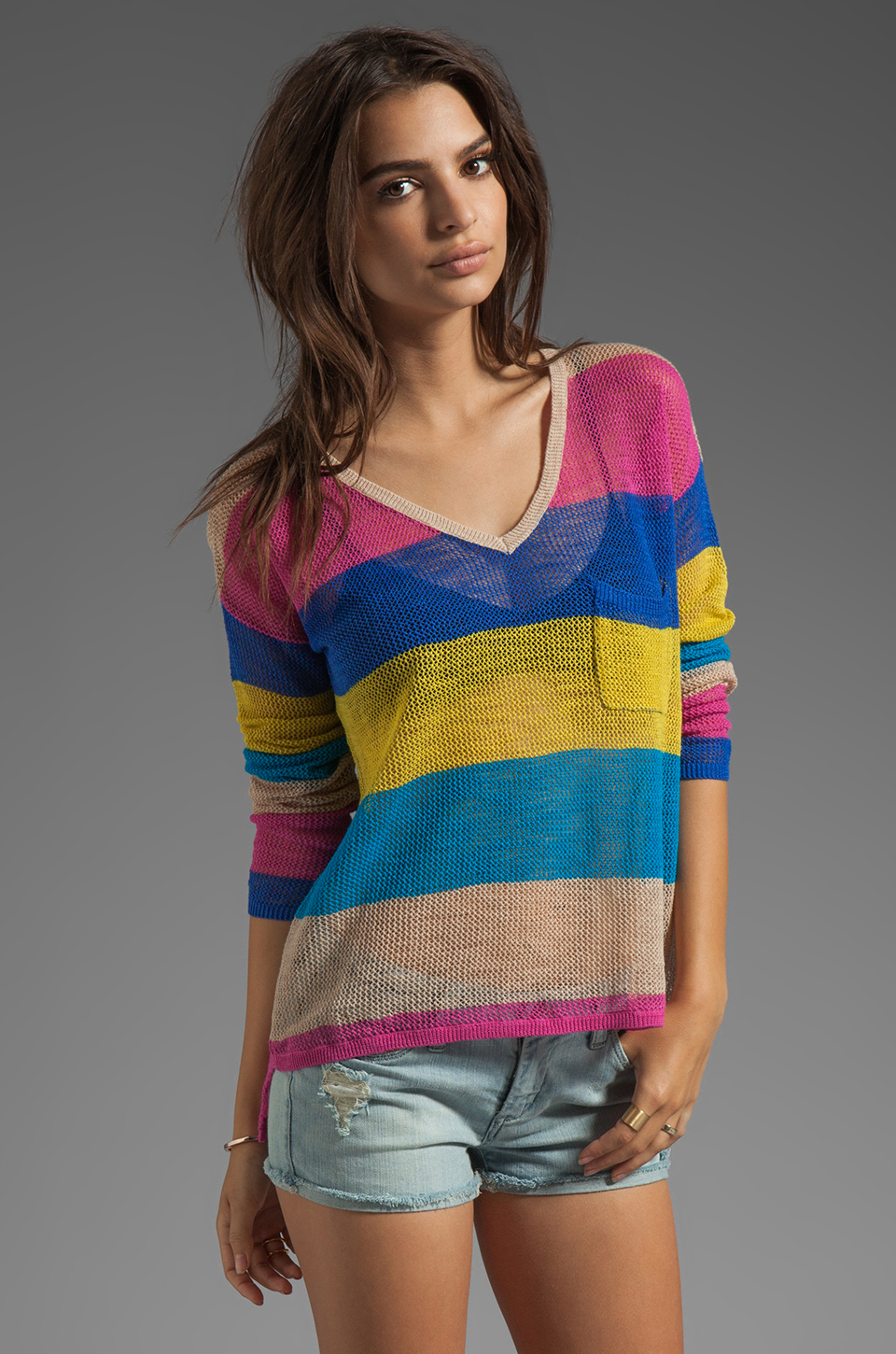 C&C California Linen Cotton Mesh Stripe Long Sleeve V-Neck Box Tee in Mirage