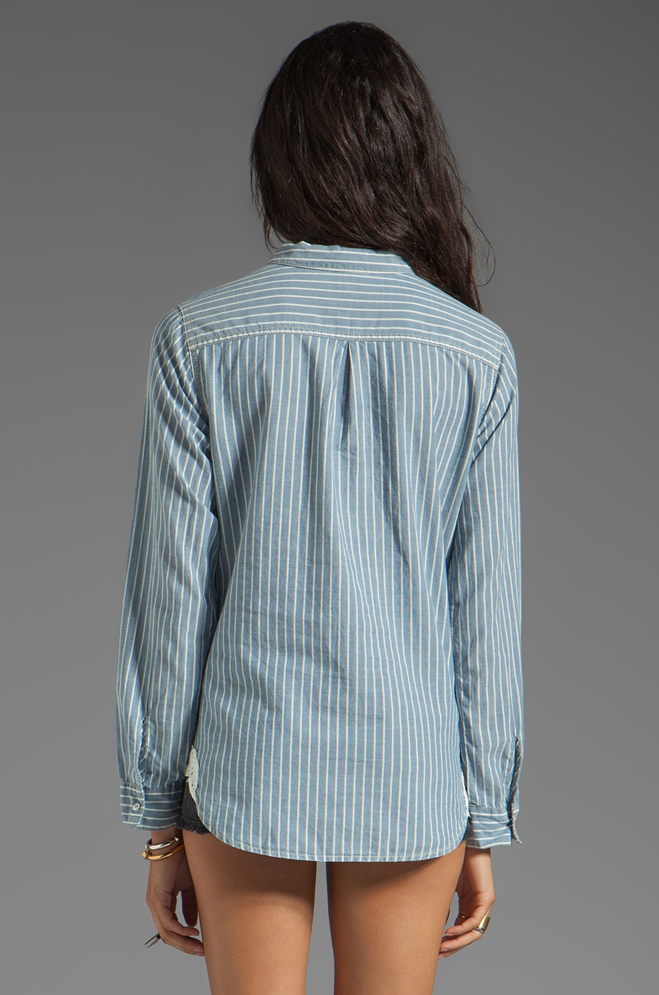 C&C California Stripe Shirt in Chambray Multi