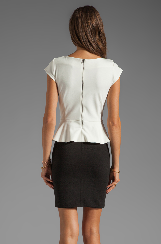 Central Park West Newport Peplum Short Sleeve Dress in Ivory/Black