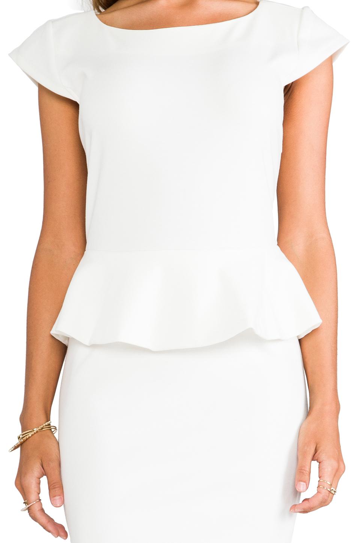 Central Park West Newport Peplum Short Sleeve Dress in Ivory