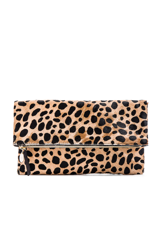 Clare V. Foldover Clutch in Leopard