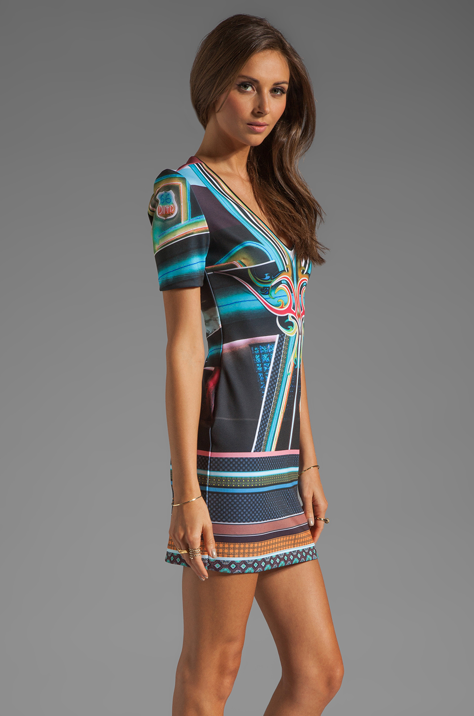 Clover Canyon Midnight Diner Neoprene Dress in Multi
