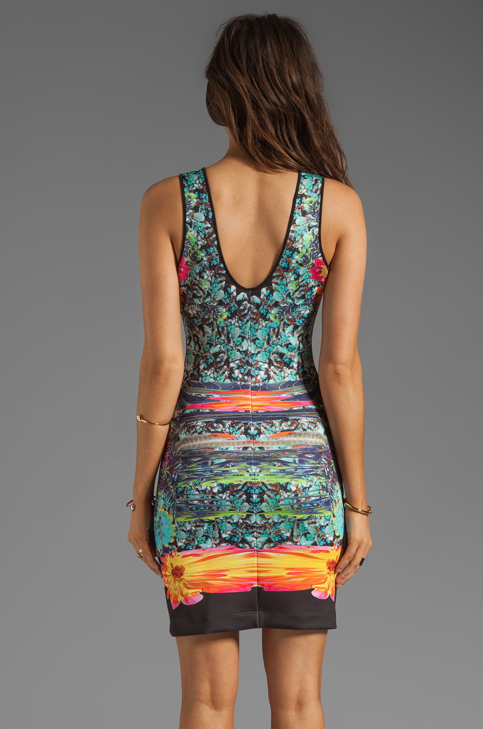 Clover Canyon EXCLUSIVE Turquoise Valley Neoprene Tank Dress in Black Multi