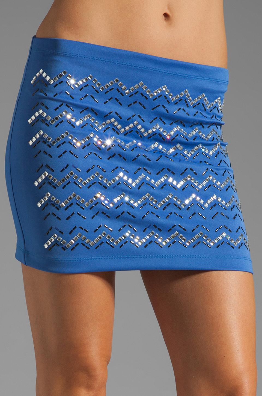 Clover Canyon Zig Zag Rhinestone Neoprene Skirt in Blue