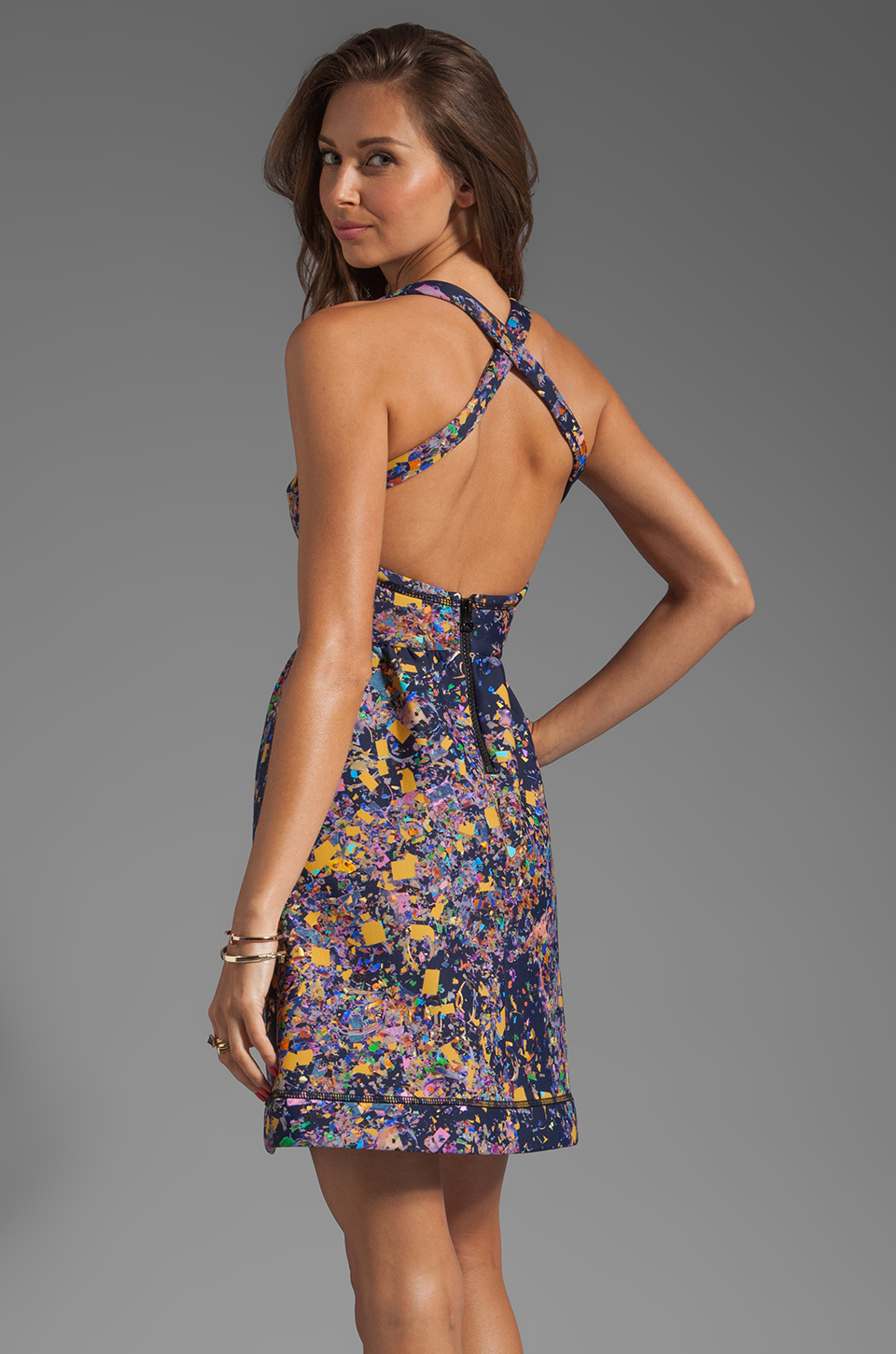 Cynthia Rowley Bonded Party Dress in Navy Confetti