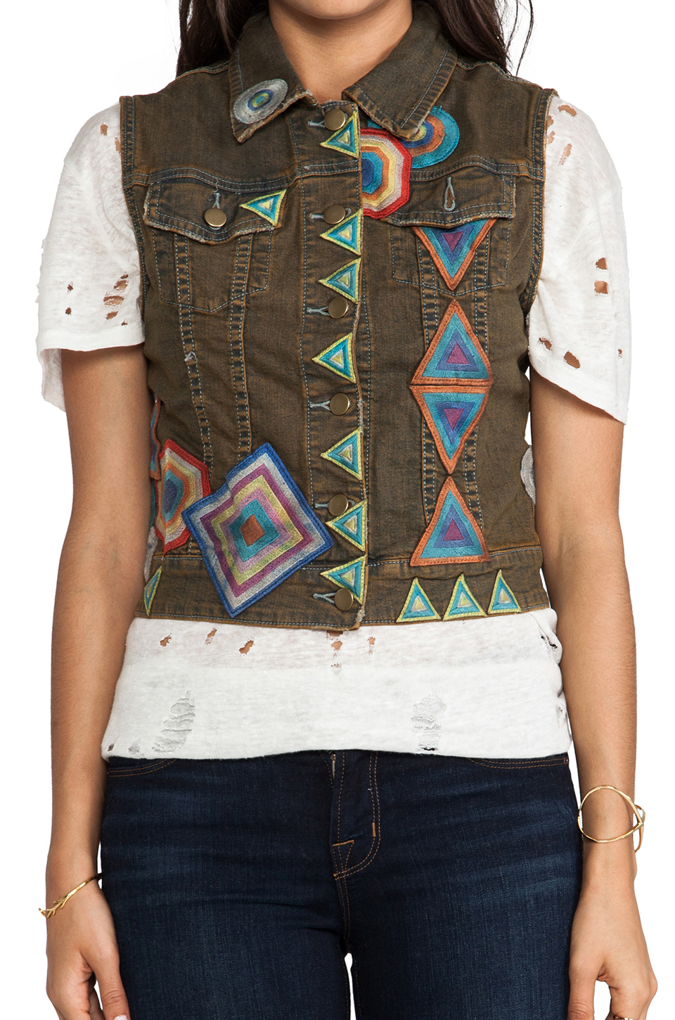 Chaser Patched Denim Vest in Desert Wash