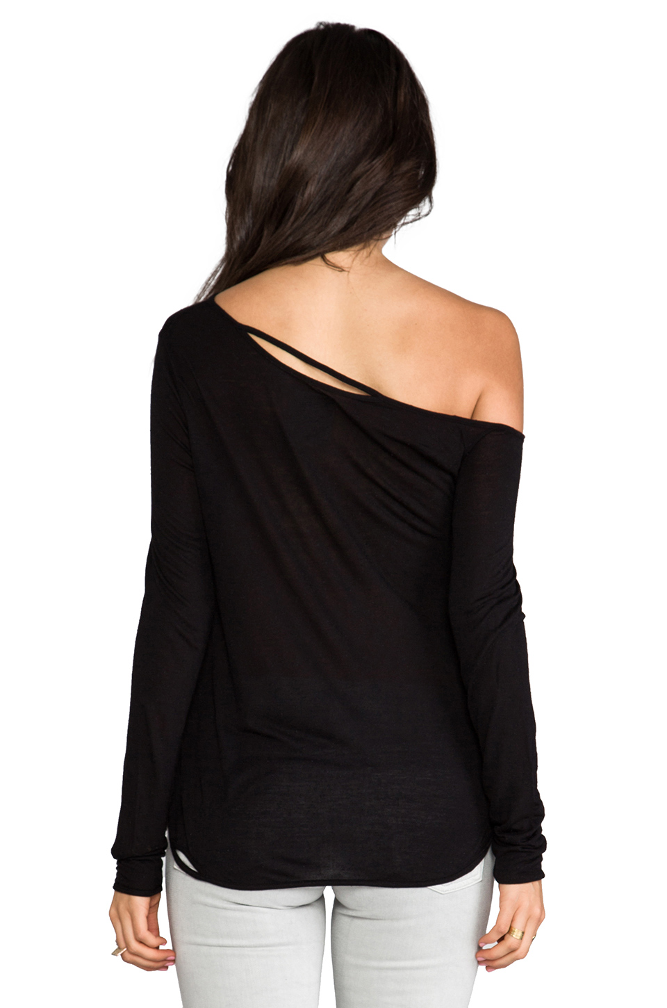 Chaser Deconstructed Off the Shoulder Tee in Black