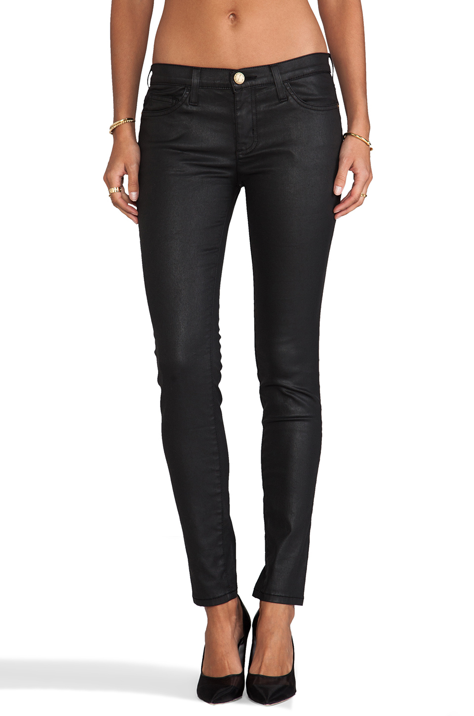Current/Elliott The Ankle Skinny in Black Coated