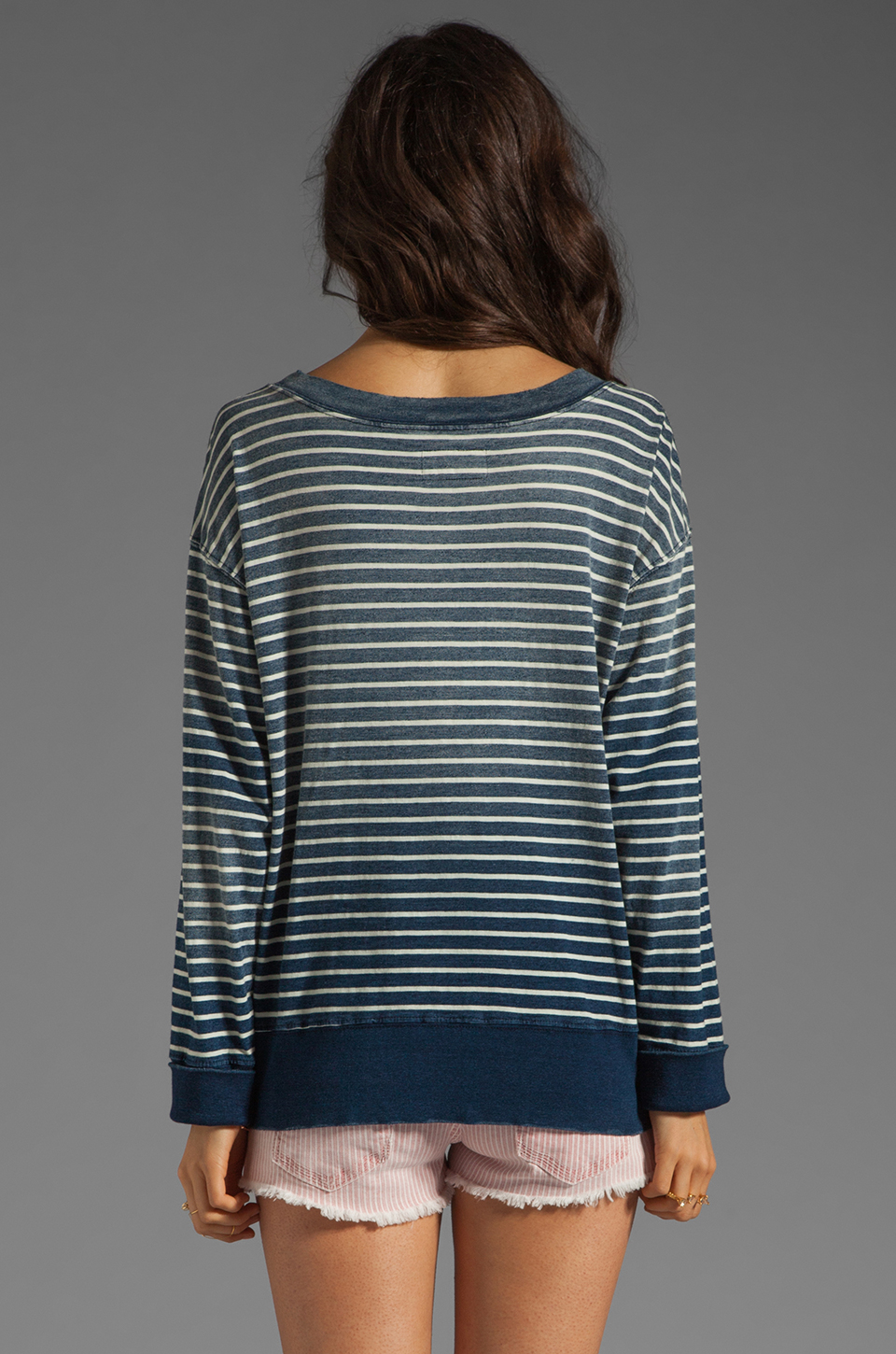 Current/Elliott The Stadium Sweatshirt in Indigo Stripe