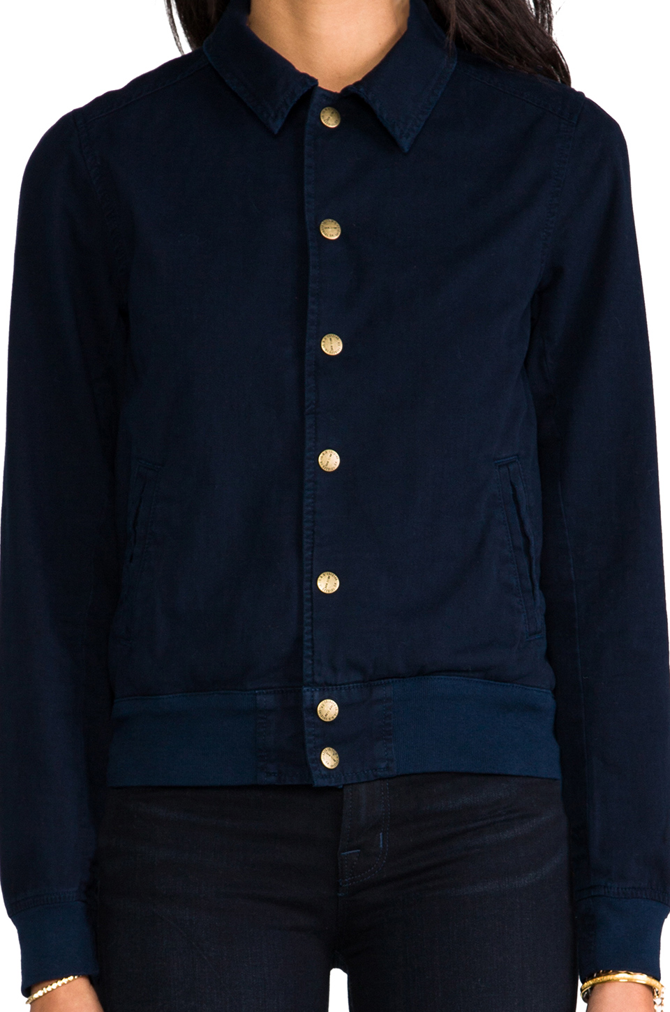 Current/Elliott X The Blonde Salad Exclusive Varsity Jacket in Navy