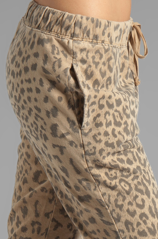 Current/Elliott Banded Bottom Sweat Pant in Camel Leopard