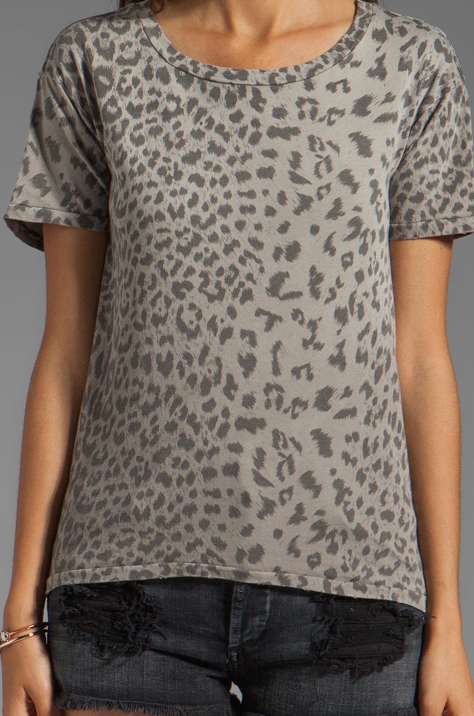Current/Elliott The Freshman Tee in Grey Leopard