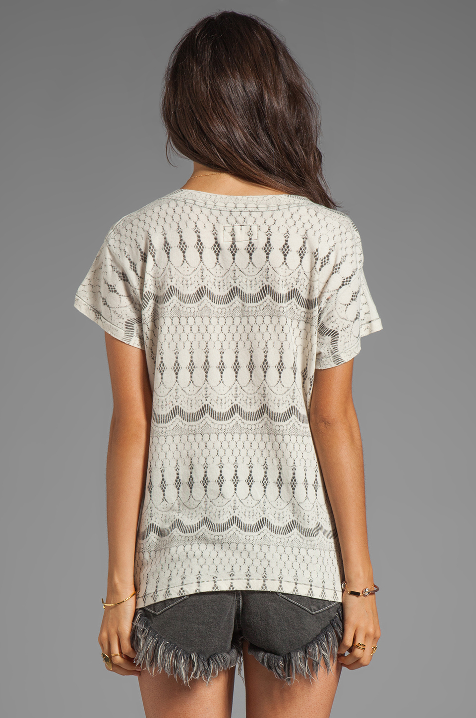 Current/Elliott The Freshman Tee in Natural Lace