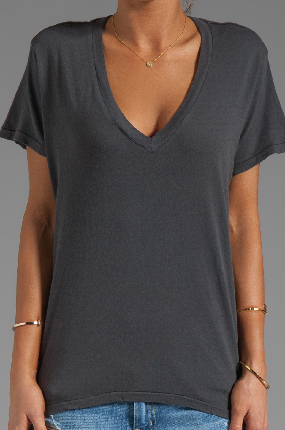 Current/Elliott The V Neck Tee in Dove Tail