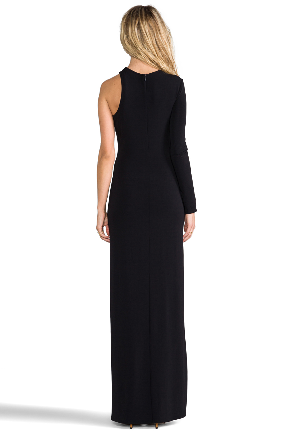 Cut25 by Yigal Azrouel One Shoulder Long Sleeve Gown in Jet