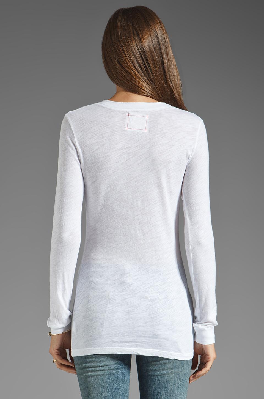 Daftbird Detailed Henley Long Sleeve Tee in White
