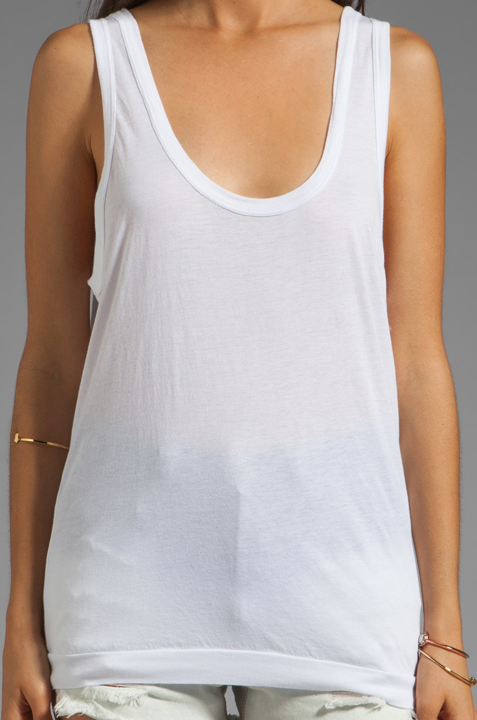 Daftbird Tank with Bottom Band in White