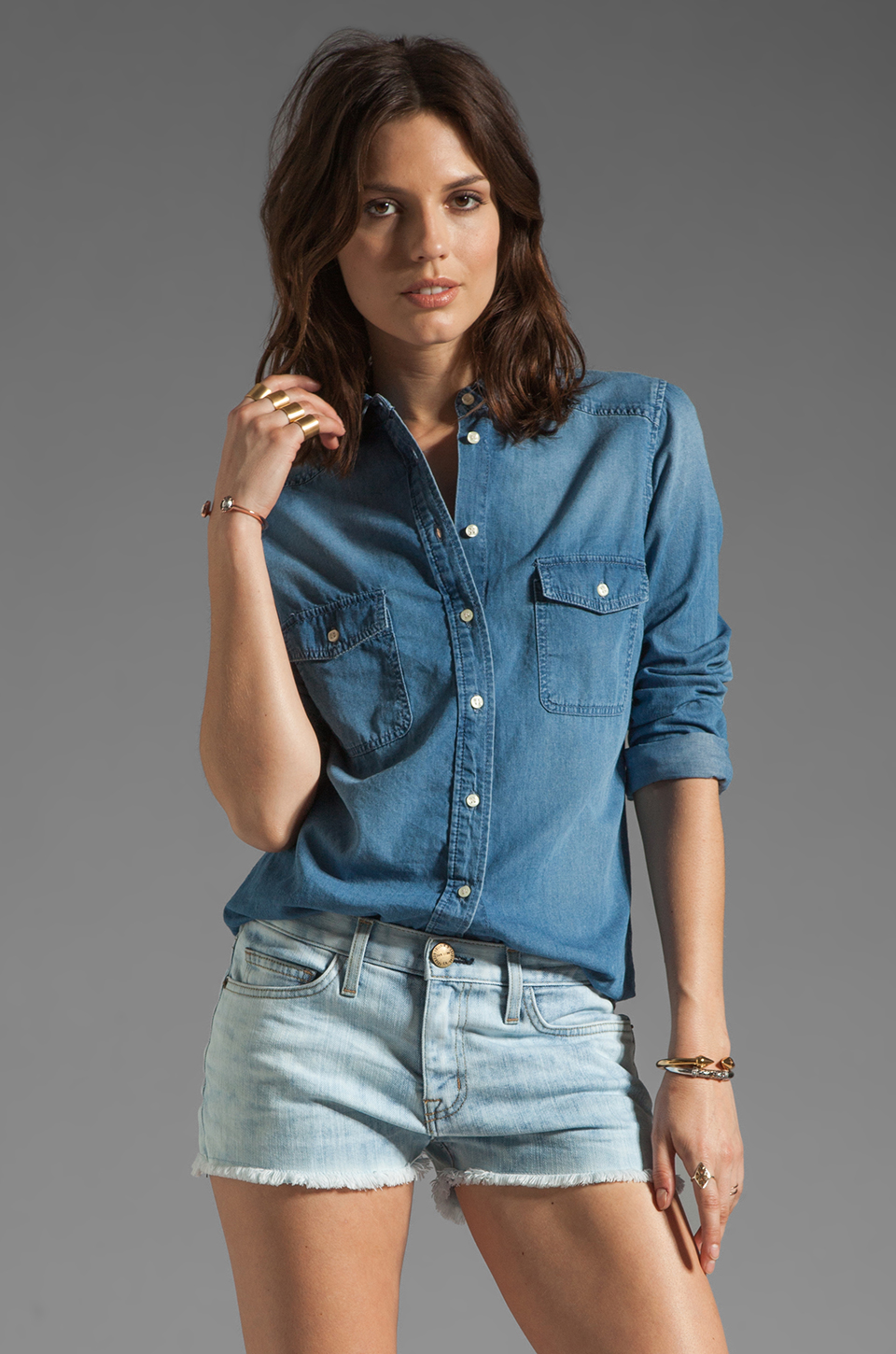 Dakota Collective Ellery Denim Shirt in Light Marble