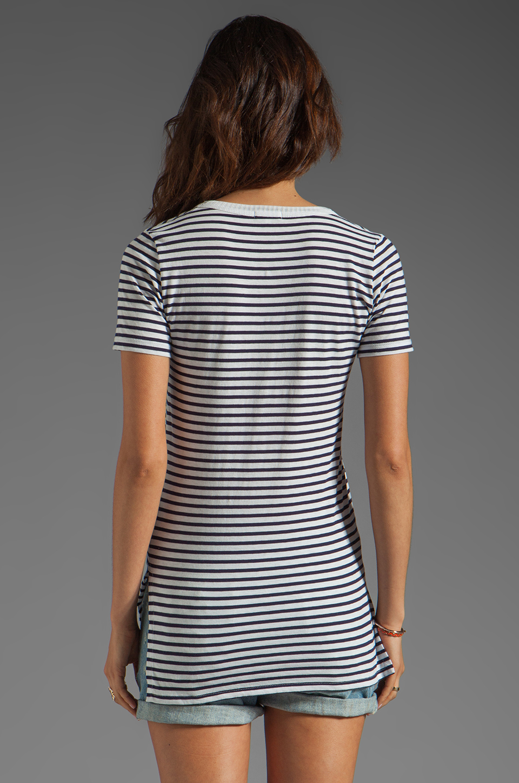 DemyLee Semi Sailor Stripe Top in White/Navy
