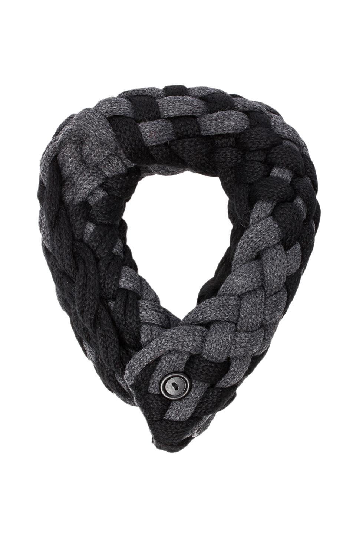DE NADA Woven Infinity Scarf in Black/Charcoal