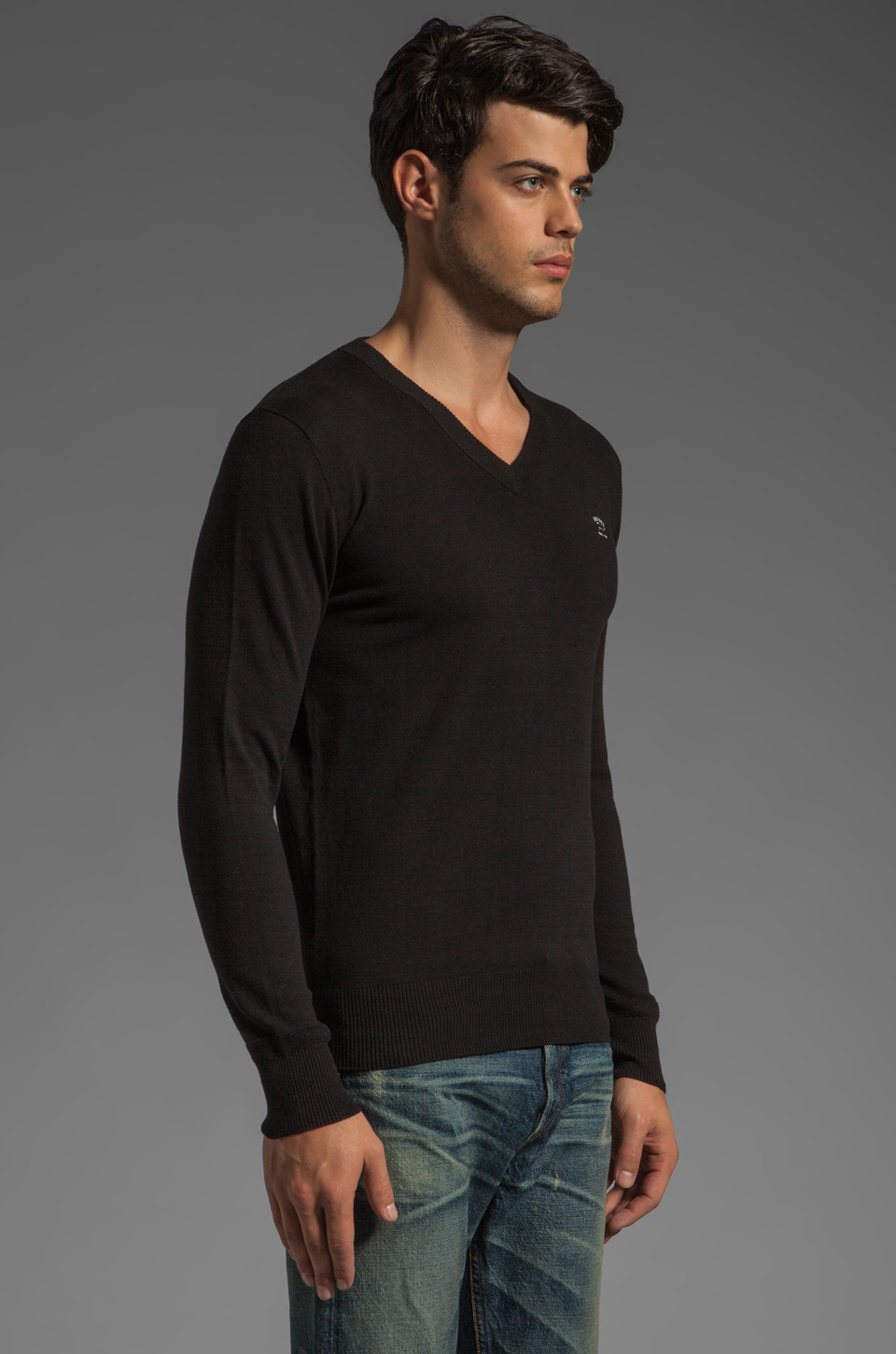 Diesel Meceneo V Neck Sweater in Black