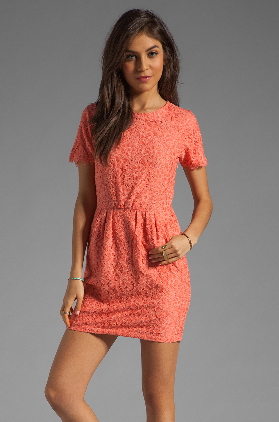 Dolce Vita Sarus Raised Lace Short Sleeve Dress in Coral