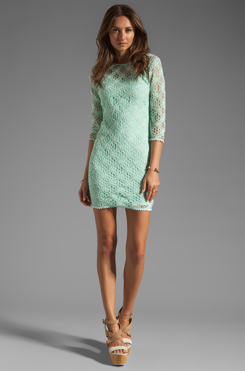 Dolce Vita Cat Crochet Lace Long Sleeve Dress in Mint