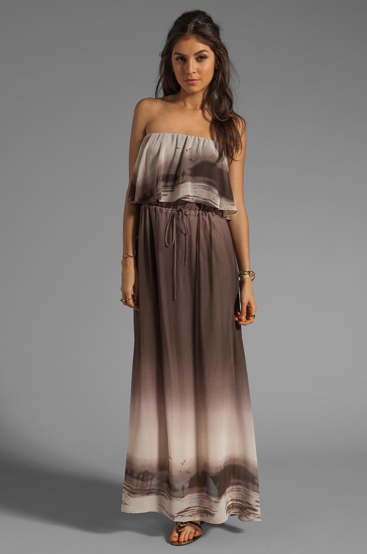 Dolce Vita Fonda Beachscape Strapless Maxi Dress in Brown