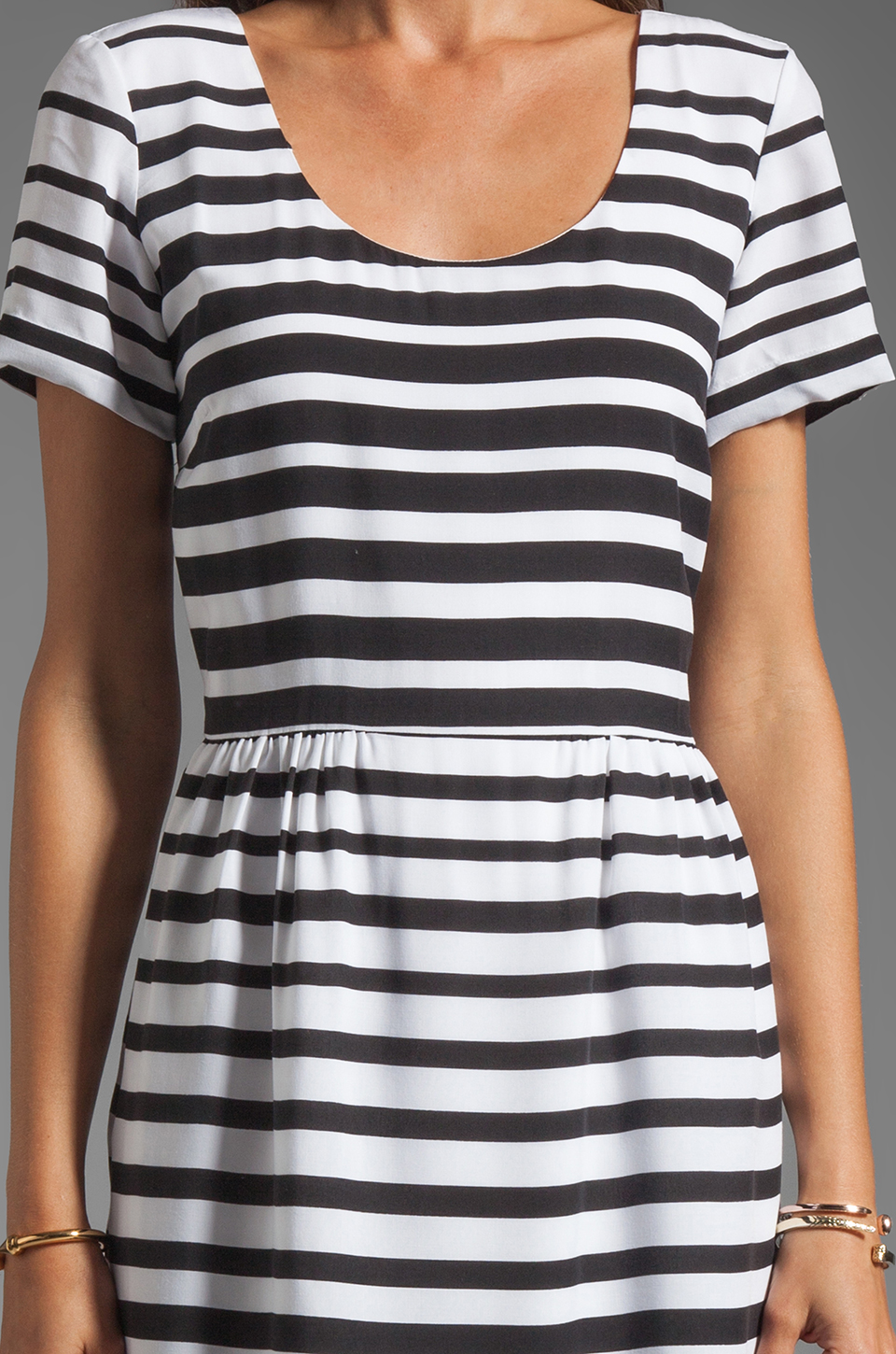 Dolce Vita Adelaide Ascending Stripe T-Shirt Dress in Black/White