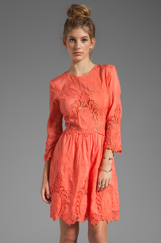 Dolce Vita Valentina Petticoat Embroidery Long Sleeve Dress in Melon