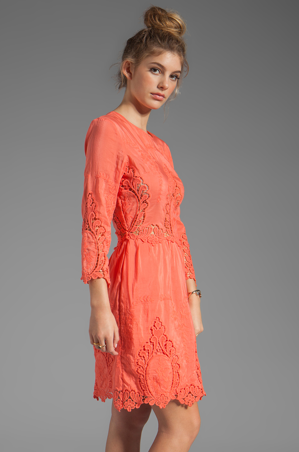 Dolce Vita Valentina Petticoat Embroidery Long Sleeve Dress in Melon