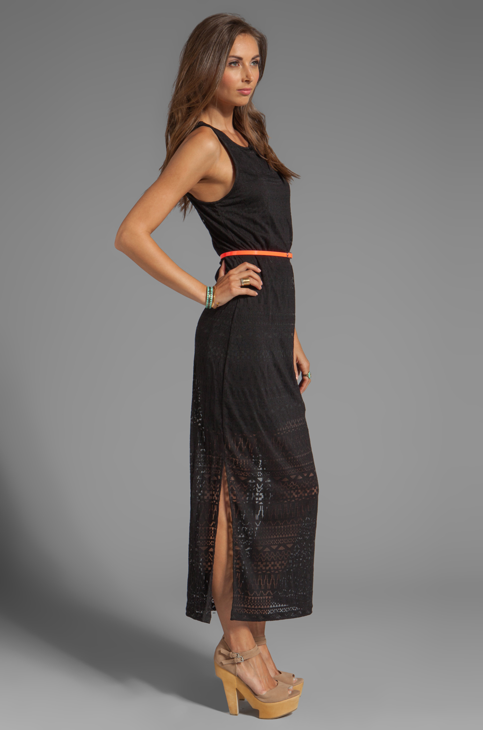 Dolce Vita Lynnie Jersey Burnout Maxi Dress in Black