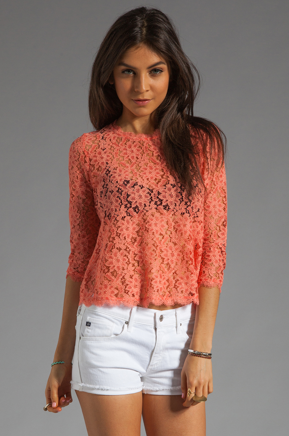 Dolce Vita Deidra Raised Lace Blouse in Coral