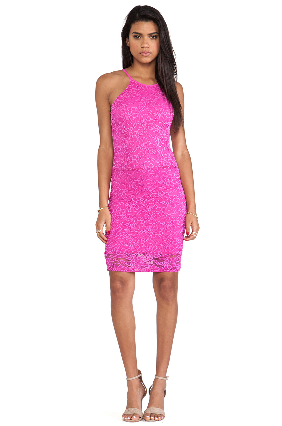 Donna Mizani Passion Lace Racer Dress in Fuchsia
