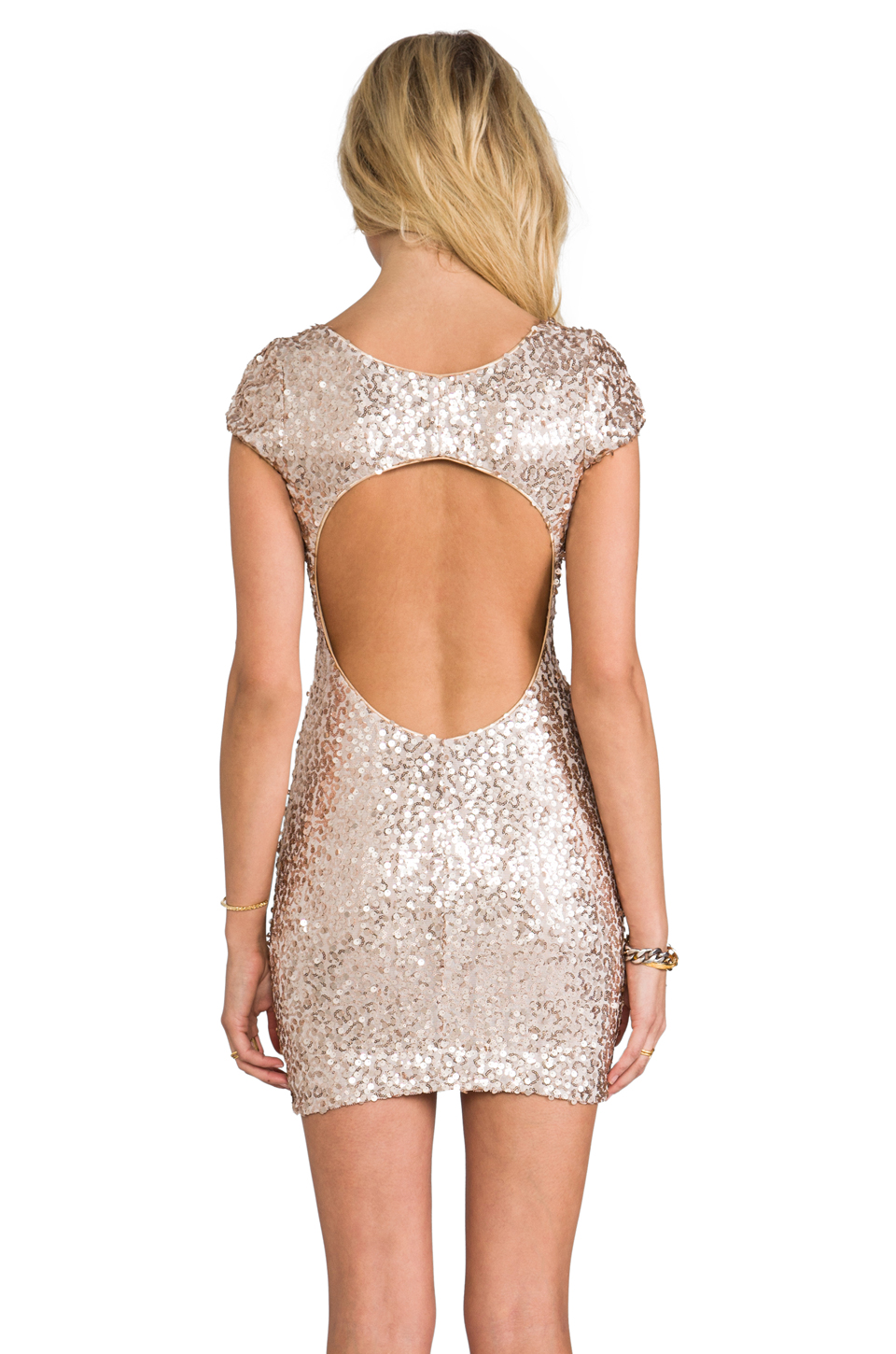 DRESS THE POPULATION Gabriella Dress in Champagne