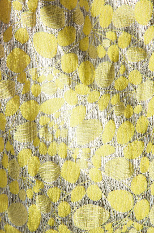 Diane von Furstenberg Sandine Balloon Metallic Jacquard Dress in Dandelion/Silver